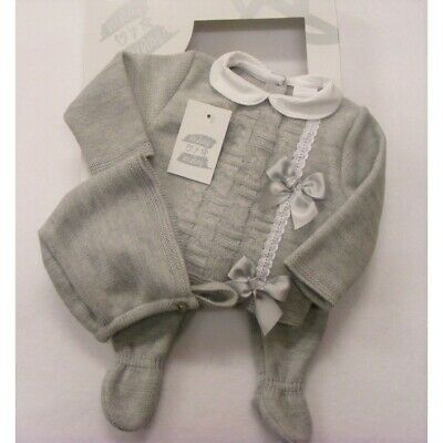 Ninas Y Ninos Baby Boys Girls Spanish Romany Grey Knitted Bows Jumper Outfit
