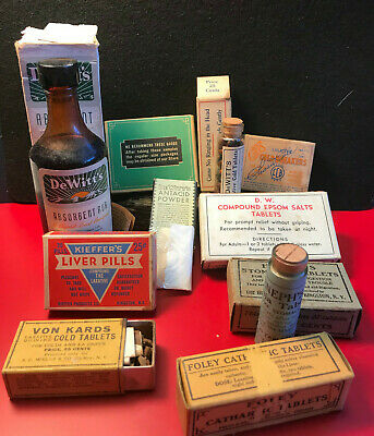 Vtg Drug Store Pharmacy Lot Heneph's Foley DeWitt Chambers' and More...