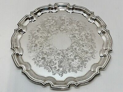"NICE 10"" CRAFTON SILVER on Copper ROUND CHIPPENDALE TRAY ~ F. HAWKER, ENGLAND"