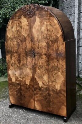Superb Very Rare Art Deco Walnut 2 Door Wardrobe Amazing Veneers 2 Man Delivery