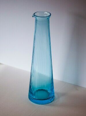 Portieux Crystal Carafe/Decanter Hand Blown France / Norma Turquoise Glassware