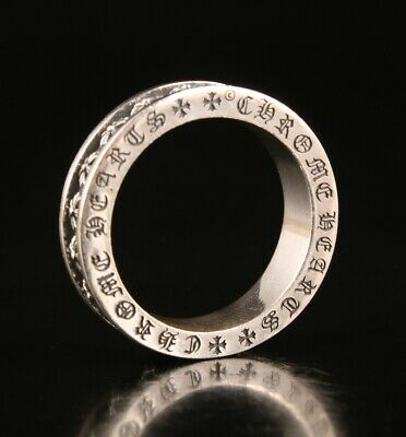 Vintage Chinese 925 Silver Ring Hand-Carved Cross Lady Decorated Old