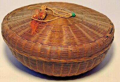 Rare Old Antique Chinese Sewing Basket ~ Tassel & Glass Beads