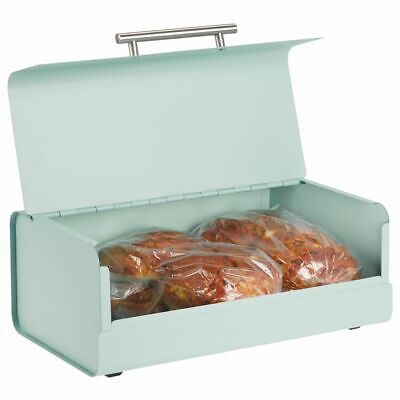 mDesign Metal Kitchen Countertop Bread Box, Home Storage Bin - Mint Green