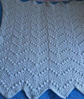 Handmade Cuddly Pale Blue Baby Hugs and Kisses Bobble Ripple Blanket