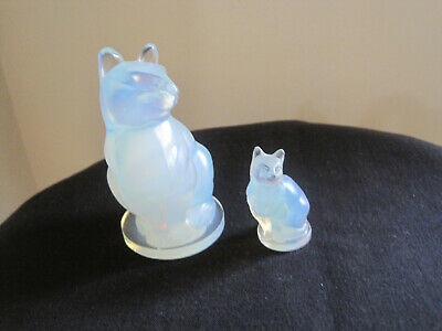 "SABINO ART Opalescent GLASS CATS 3 1/2 INCHES TALL  Small 1 7/8""  tall"