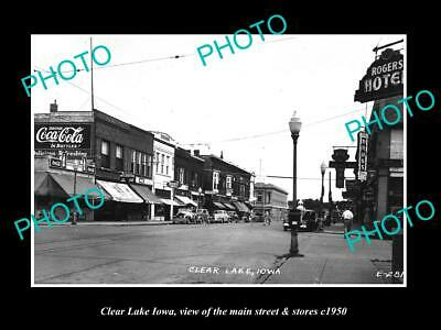 OLD 8x6 HISTORIC PHOTO OF CLEAR LAKE IOWA THE MAIN STREET & STORES c1950