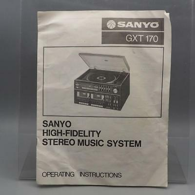 Vintage Sanyo GXT170 Stereo Music System Instructions Manual