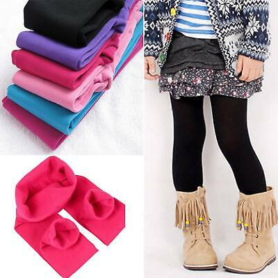 Girls Kids Children Winter Warm Fleece Lined Stretch Legging Slim Trousers Pants