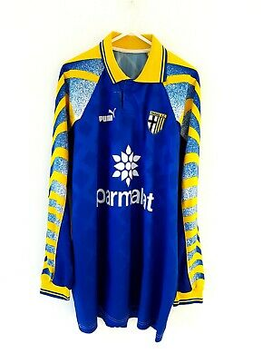 Parma FC Away Shirt 1995. XL. Puma. Blue Adults Long Sleeves Football Top Only.