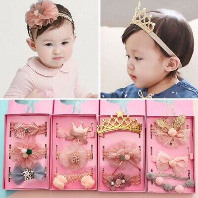 Baby Toddler Girls Kids Cute Crown Lace Bow Turban Headband Hair Band Headwrap