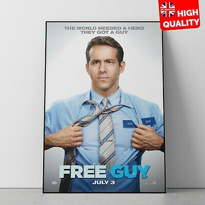 Free Guy Movie Poster Ryan Reynolds Comedy Action Poster Print | A4 A3 A2 A1 |