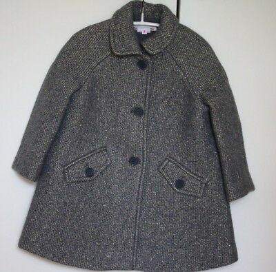 Bonpoint Girls Gold Sparkly Wool Blend Padded Coat 3 Years