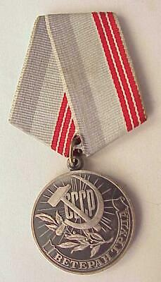 Russian Soviet Ussr Award Labor Military Medal Badge Order Pin Red Star Ribbon