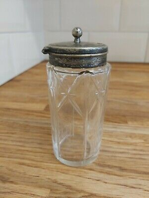Vintage Crystal / Glass Mustard Condiment Pot with Silver Plated Lid - 11cm tall