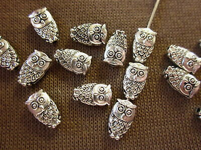 20 Antique Silver Coloured 6mm x 18mm Owl Spacer Beads #sp1365 Jewellery Making