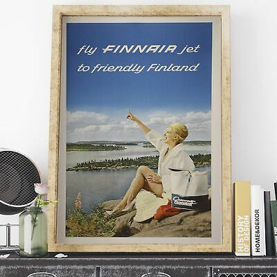 Fly FINNAIR Jet to Friendly Finland Tourism 1960 vintage print framed//unframed