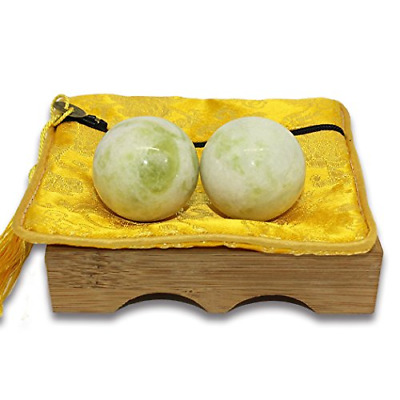 Light Green Marble Baoding Chinese Health Exercise Stress Balls Natural Stone US