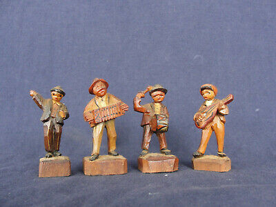 4 Vintage Hand Carved Wooden Figures Musicians Black Forest Germany
