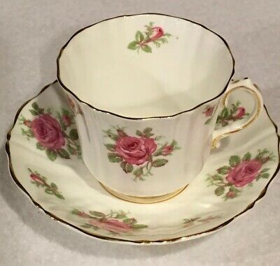 Old Royal White with Pink Rose Scalloped Tea Cup and Saucer