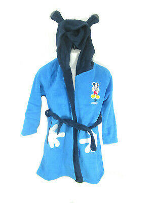 Boys Micky Mouse  Dressing Gown/Hood Colour Blue  Size 8 year front pockets