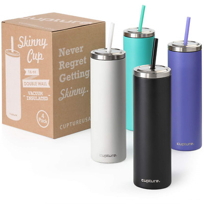 Cupture Stainless Steel Skinny Insulated Tumbler Cup with Lid and Reusable Straw