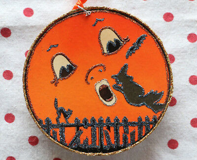 Glittered Wooden Halloween Ornament~Moon & Witch~ Vintage Card Image~