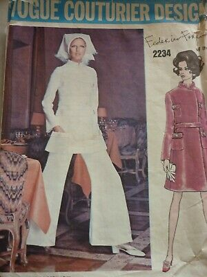 Vintage 1960'S Vogue 2234 Couturier Forquet Dress Top Trousers Sewing Pattern