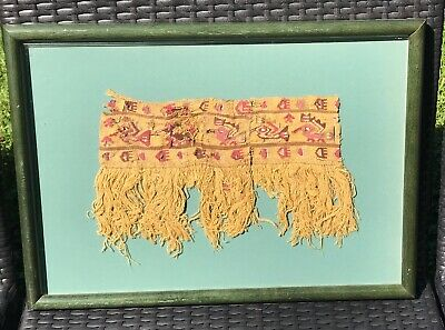 Pre Columbian CHANCAY Embroidered Headband Panel Textile Of Birds circa 1300 A.D