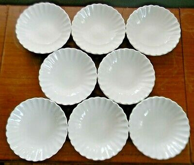 """8 J & G Meakin CLASSIC WHITE 5.5"""" FRUIT BOWLS Scalloped Edge England VERY GOOD!"""