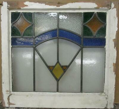 "OLD ENGLISH LEADED STAINED GLASS WINDOW Stunning Geometric Design 21.5"" x 20"""