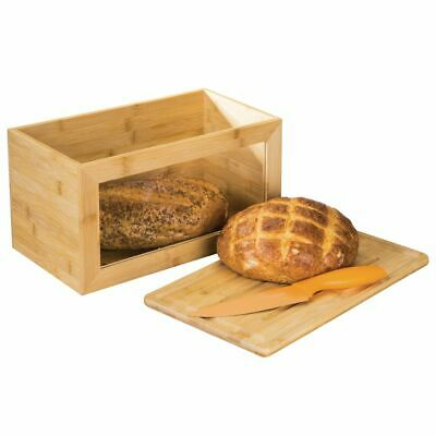 mDesign Bamboo Kitchen Countertop Bread Box, Clear Window, Lid - Natural Wood