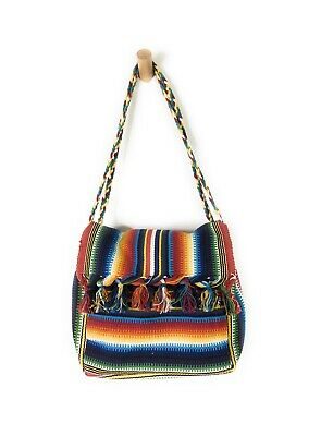 Vintage Woven Guatemalan Colorful Tote Bag Boho Hippie Double Blanket Bag Strap