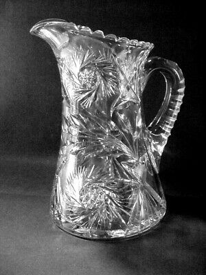 Antique American Brilliant ABP Cut Glass Crystal Water Pitcher Tankard Pin Wheel