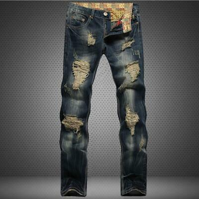 Mens Slim Fit Distressed Straight Ripped Biker Jeans Denim Pants Retro Fashion