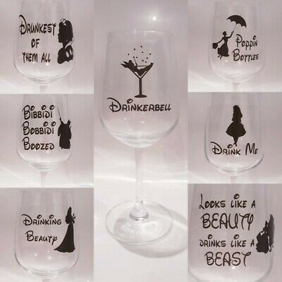 Disney Inspired  sticker set for drinking wine glass
