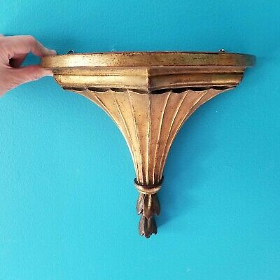 Old VTG Hollywood Regency SCONCE WALL SHELF Italianate GOLD RUB RED Plaster Wood