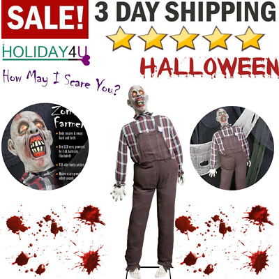 Halloween Life Size Zombie Decoration props with Red Light Haunted House Party