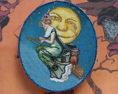 Glittered Wooden Halloween Ornament~Witch, Broom, Moon ~ Vintage Image