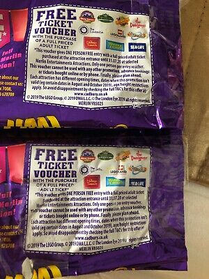 2x Cadburys Merlin Free ticket voucher Alton towers Thorpe Park Lego land 2for1