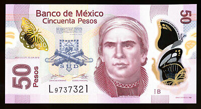 Mexico 50 Pesos 2012 Polymer Note P. 123A Serie B UNC