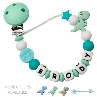 Personalized Dummy Clip Silicon Bead Pacifier Holder ~ Baby Boy Girl ~ Dinosaur