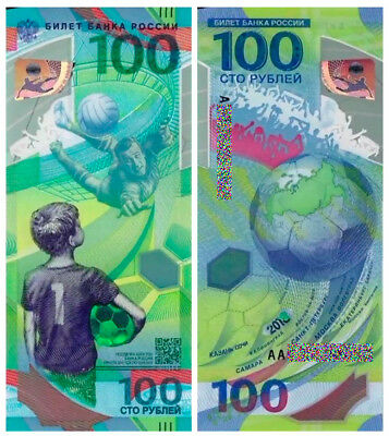 Russia 100 Ruble 2018  FIFA World Cup Polymer Note UNC Prefix AA Lev Yashin NEW