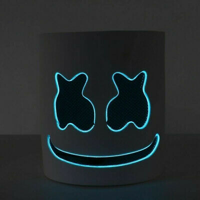 Blue DJ-MarshMello LED Mask Full Head Helmet Halloween Cosplay Bar Music Prop