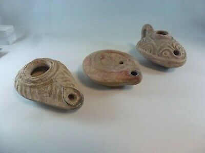 Estate antique Ancient lot of 3 Clay Pottery Oil Lamps FREE SHIPPING