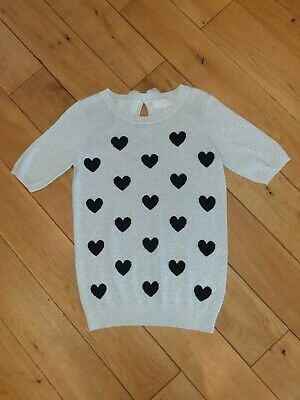 Next Short Sleeve Viscose Blend Cream Sparkly Knit with Black Hearts UK 8