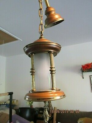 Arts and Craft Mission style Foyer Pendant lighting fixture BRASS