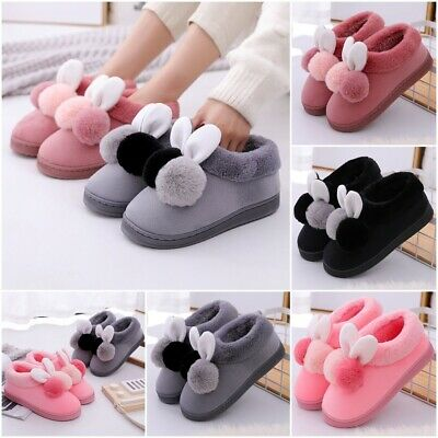 Women Winter Plush Bunny Rabbit Warm Indoor Slippers Slip On Soft Home Shoes Hot