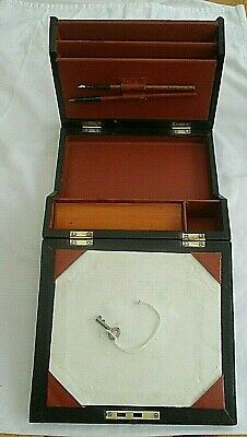 Vintage 1920s Faux Leather Ladies Writing Slope/ Box With Working Lock & Key