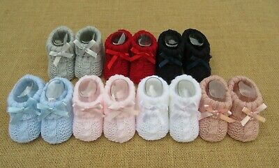 Baby Girls Boys Romany Spanish Cable Knitted Ribbon Bow Booties newborn-3 months